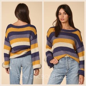 Striped Dolman Sleeve Knitted Sweater